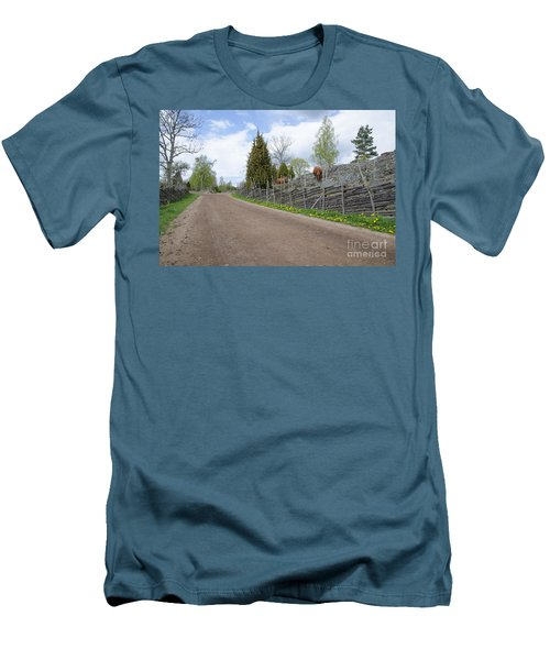 Along An Old Fashioned Road Men's T-Shirt (Slim Fit) by Kennerth and Birgitta Kullman