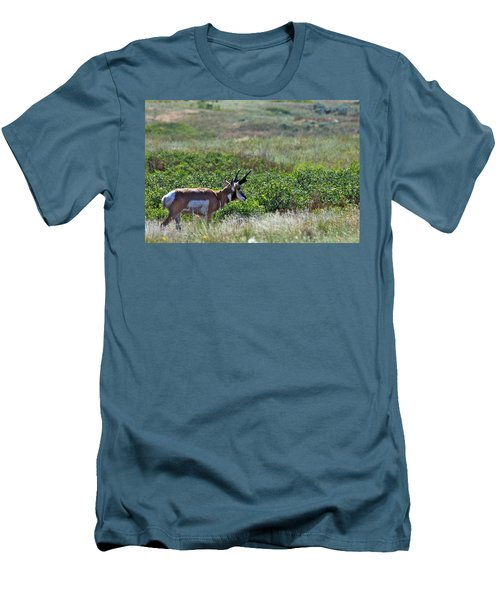 Men's T-Shirt (Slim Fit) featuring the photograph American Pronghorn Buck by Karon Melillo DeVega