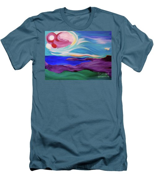 Men's T-Shirt (Slim Fit) featuring the painting Angel Sky by First Star Art