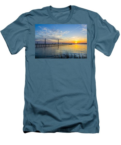 Men's T-Shirt (Slim Fit) featuring the photograph Calm Waters Over Charleston Sc by Dale Powell