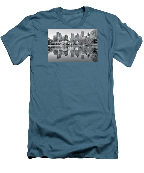 Atlanta Reflecting In Black And White Men's T-Shirt (Slim Fit) by Frozen in Time Fine Art Photography