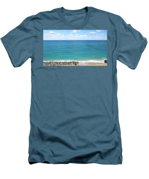 Atlantic Ocean In South Florida Men's T-Shirt (Slim Fit) by Ron Davidson