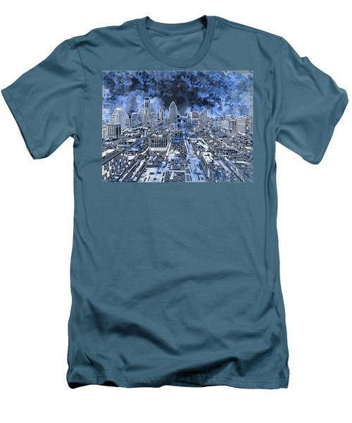 Austin Texas Abstract Panorama 5 Men's T-Shirt (Slim Fit) by Bekim Art