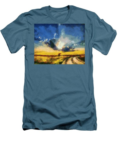 Men's T-Shirt (Slim Fit) featuring the painting Back To Goodbye by Joe Misrasi
