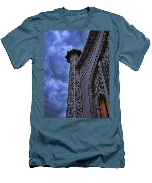 Men's T-Shirt (Slim Fit) featuring the photograph Bahai Temple Detail At Dusk II by John Hansen