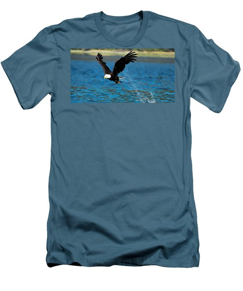 Men's T-Shirt (Slim Fit) featuring the photograph Bald Eagle Fishing by Don Schwartz