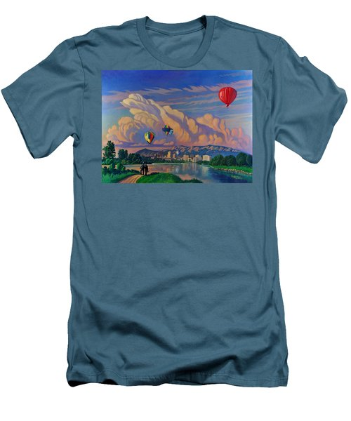 Men's T-Shirt (Slim Fit) featuring the painting Ballooning On The Rio Grande by Art James West