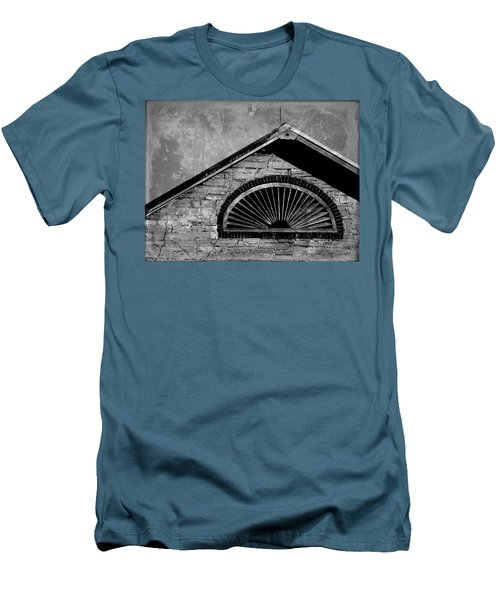 Men's T-Shirt (Slim Fit) featuring the photograph Barn Detail - Black And White by Joseph Skompski