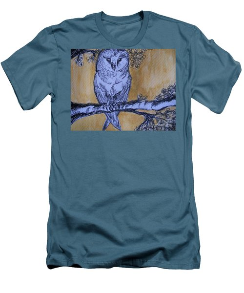 Men's T-Shirt (Slim Fit) featuring the painting Barn Owl by Teresa White
