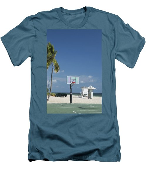 Basketball Goal On The Beach Men's T-Shirt (Athletic Fit)