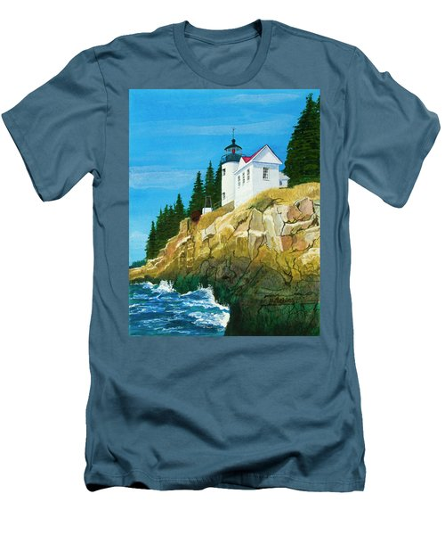 Bass Harbor Lighthouse Men's T-Shirt (Slim Fit) by Mike Robles