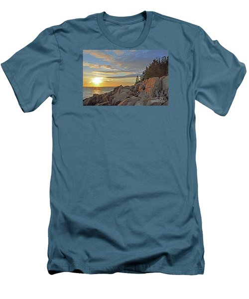 Men's T-Shirt (Slim Fit) featuring the photograph Bass Harbor Lighthouse Sunset Landscape by Glenn Gordon