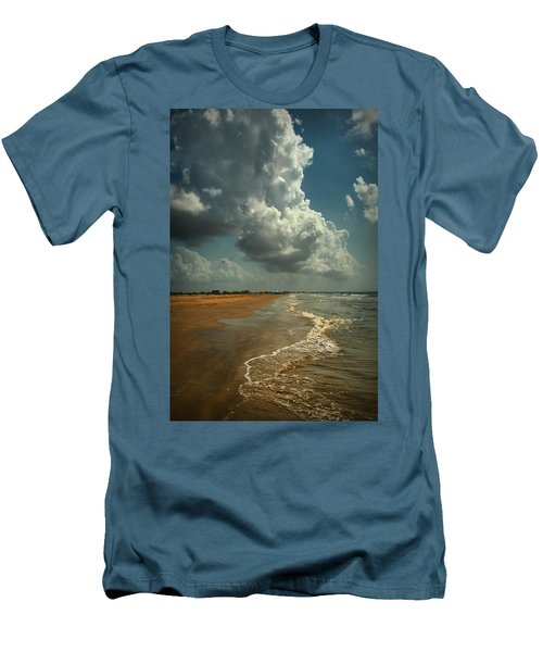 Beach And Clouds Men's T-Shirt (Slim Fit) by Linda Unger