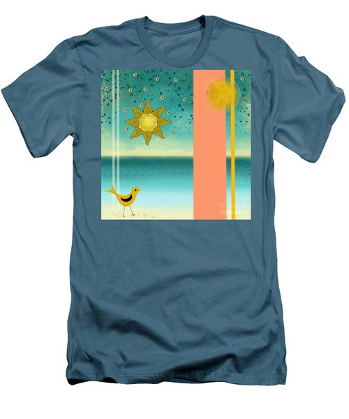 Men's T-Shirt (Slim Fit) featuring the painting Beach Bird by Carol Jacobs