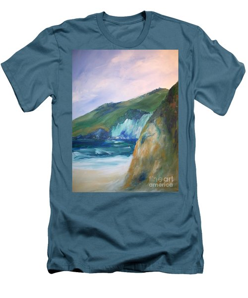 Men's T-Shirt (Slim Fit) featuring the painting Beach California by Eric  Schiabor