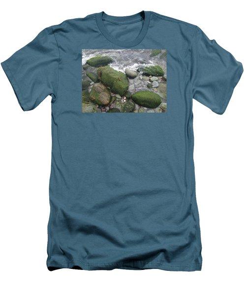 Beach Rocks Men's T-Shirt (Slim Fit) by Robert Nickologianis