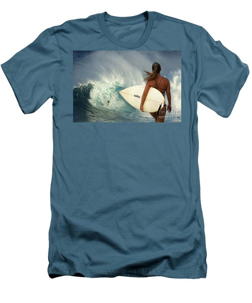 Surfer Girl Meets Jaws Men's T-Shirt (Slim Fit) by Bob Christopher