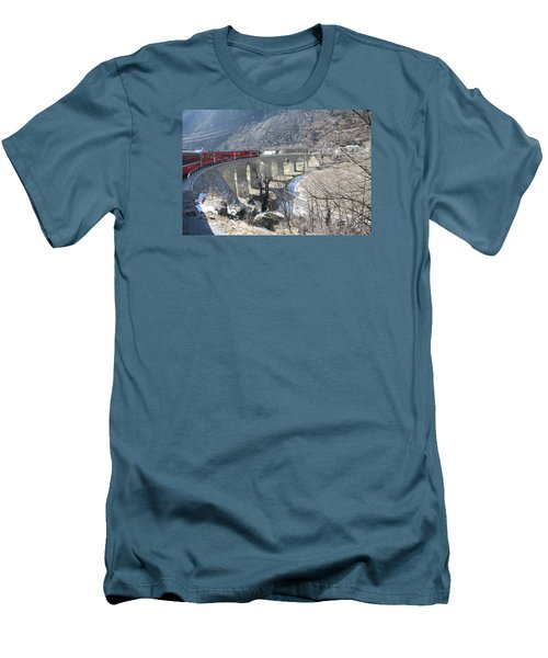 Men's T-Shirt (Slim Fit) featuring the photograph Bernina Express In Winter by Travel Pics