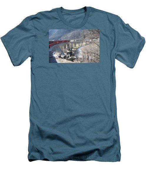 Bernina Express In Winter Men's T-Shirt (Slim Fit) by Travel Pics