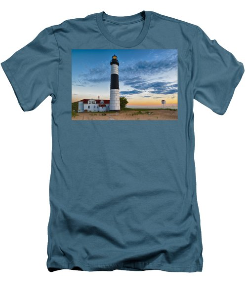 Men's T-Shirt (Athletic Fit) featuring the photograph Big Sable Point Lighthouse Sunset by Sebastian Musial