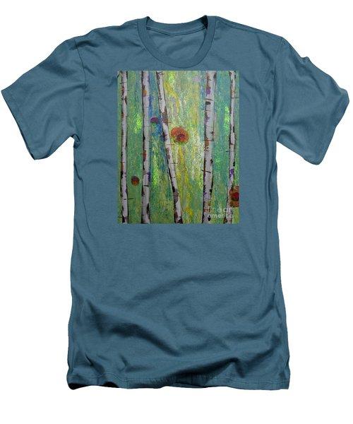 Birch - Lt. Green 5 Men's T-Shirt (Slim Fit) by Jacqueline Athmann