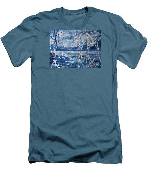 Birches In Blue Men's T-Shirt (Slim Fit) by Ellen Levinson