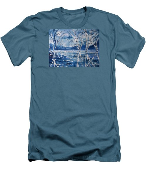 Birches In Blue Men's T-Shirt (Athletic Fit)