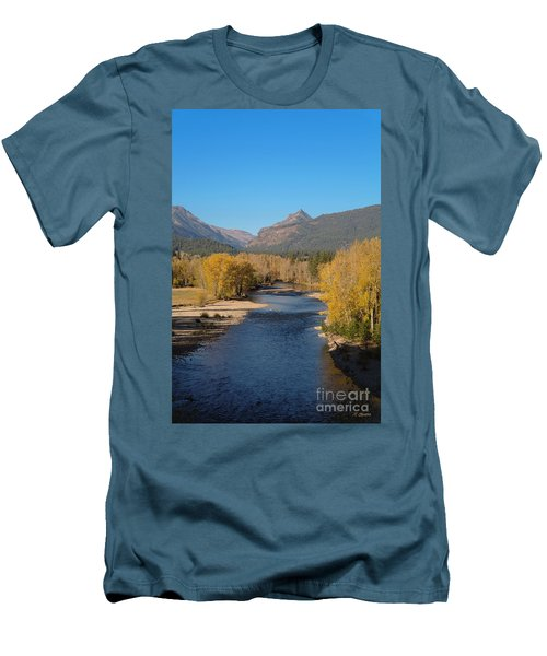 Men's T-Shirt (Slim Fit) featuring the photograph Bitterroot River Fall by Joseph J Stevens
