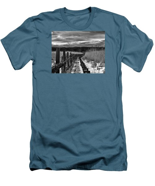 Men's T-Shirt (Slim Fit) featuring the photograph black and White Danger 2 bordway cover with slippery ice by Leif Sohlman