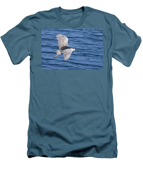 Men's T-Shirt (Slim Fit) featuring the photograph Black Crowned Night Heron In Flight by Greg Graham