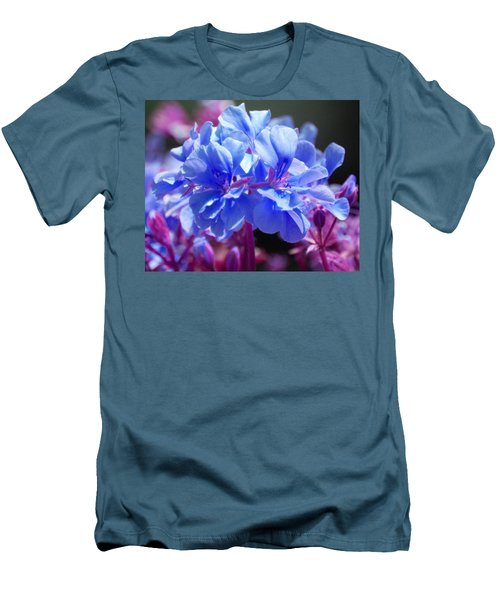 Men's T-Shirt (Slim Fit) featuring the photograph Blue And Purple Flowers by Matt Harang