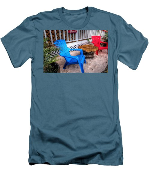 Men's T-Shirt (Slim Fit) featuring the digital art Blue And Red Chairs by Michael Thomas