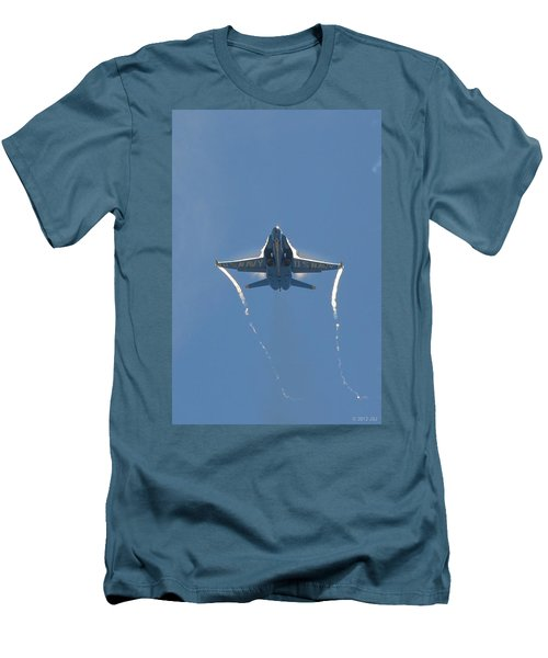 Blue Angels Ghost Appears Head-on Over Pensacola Beach Men's T-Shirt (Slim Fit) by Jeff at JSJ Photography