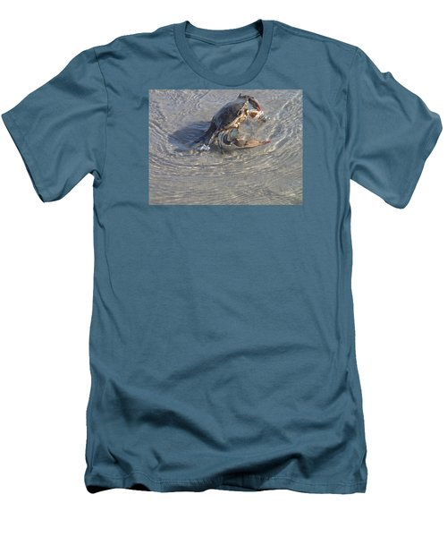Blue Crab Chillin Men's T-Shirt (Slim Fit) by Robert Nickologianis
