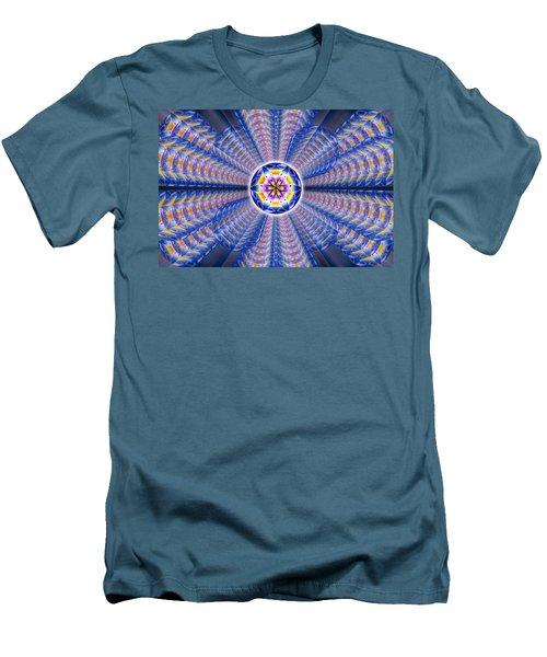 Blue Crystal Consciousness Men's T-Shirt (Slim Fit) by Derek Gedney