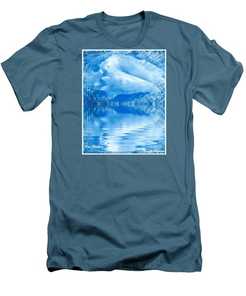 Men's T-Shirt (Slim Fit) featuring the mixed media Blue Healing by Ray Tapajna