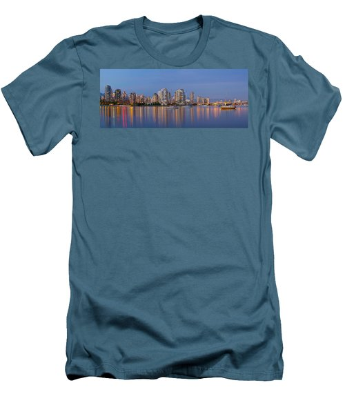 Men's T-Shirt (Slim Fit) featuring the photograph Blue Hour At False Creek Vancouver Bc Canada by JPLDesigns