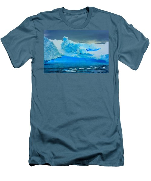 Men's T-Shirt (Slim Fit) featuring the photograph Blue Icebergs by Amanda Stadther