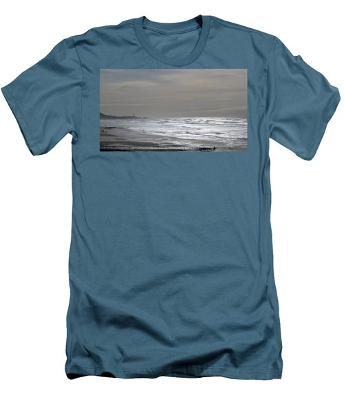 Blue Lighthouse View Men's T-Shirt (Slim Fit) by Susan Garren