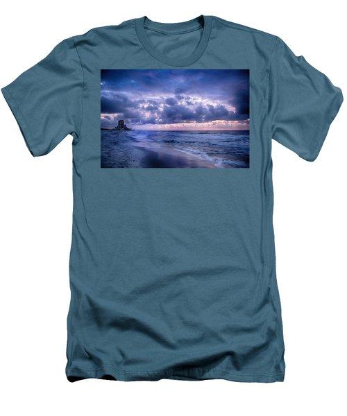 Blue Orange Beach Men's T-Shirt (Slim Fit) by Michael Thomas