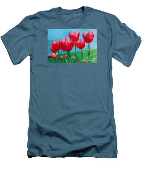 Men's T-Shirt (Slim Fit) featuring the painting Blue Ray Tulips by Pamela Clements