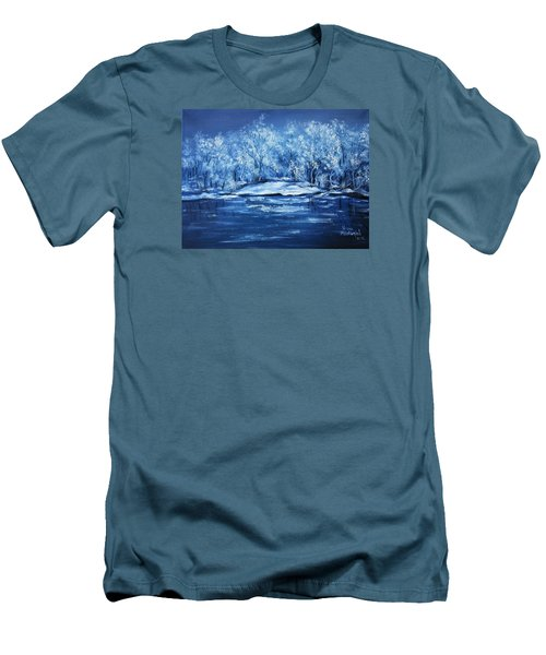 Men's T-Shirt (Slim Fit) featuring the painting Blue Silence by Vesna Martinjak