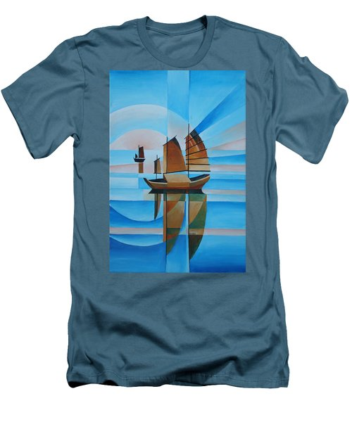 Men's T-Shirt (Slim Fit) featuring the painting Blue Skies And Cerulean Seas by Tracey Harrington-Simpson