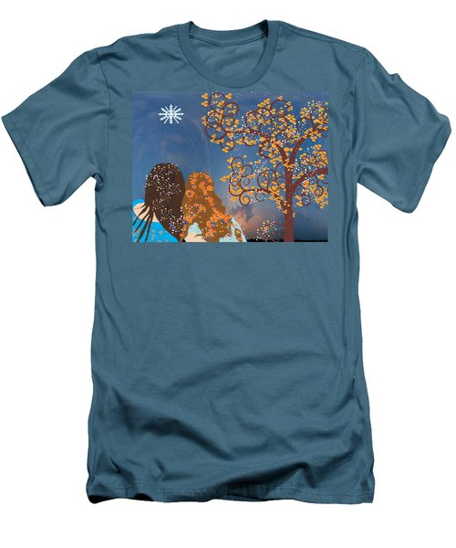 Men's T-Shirt (Slim Fit) featuring the digital art Blue Swirl Girls 2 by Kim Prowse