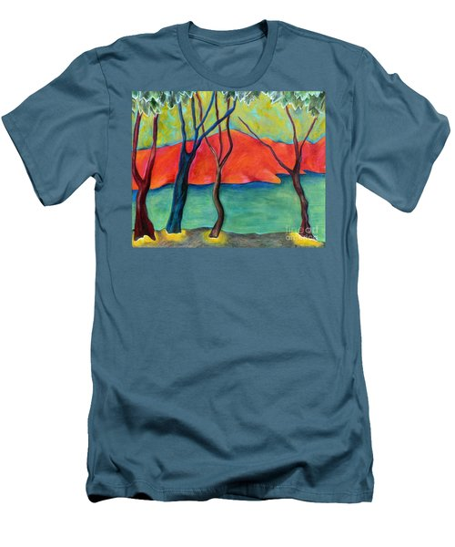 Blue Tree 2 Men's T-Shirt (Slim Fit) by Elizabeth Fontaine-Barr