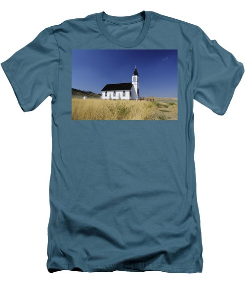 Men's T-Shirt (Slim Fit) featuring the photograph Blue Trim Church by Fran Riley