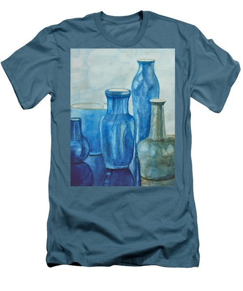 Blue Vases I Men's T-Shirt (Slim Fit) by Anna Ruzsan