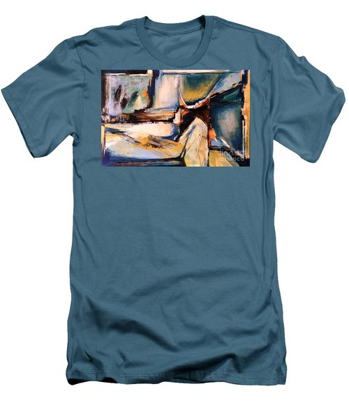 Blues And Orange Men's T-Shirt (Slim Fit) by Glory Wood
