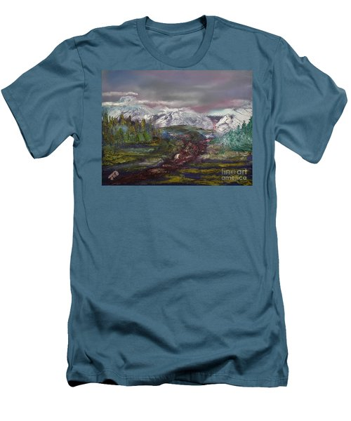 Men's T-Shirt (Slim Fit) featuring the painting Blurred Mountain by Jan Dappen