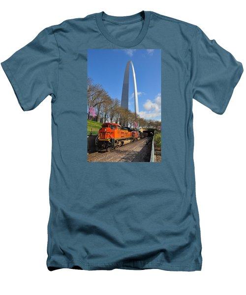 Bnsf Ore Train And St. Louis Gateway Arch Men's T-Shirt (Slim Fit) by Matthew Chapman